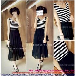 Đầm maxi áo sọc phối chân váy voan đen cực xinh DDH134