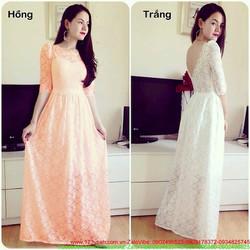 Đầm dạ hội ren hoa dài tay hở lưng V quyến rũ sang trọng