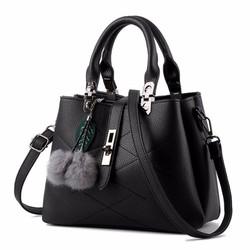 Túi xách nữ có nắp gài sang trọng kèm bông