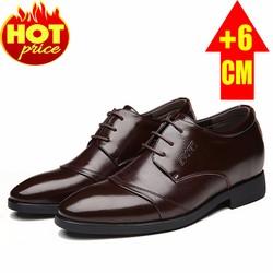 Giày Tăng Chiều Cao Nam Da Thật, Tăng 6Cm, Sang Trọng, Đẳng Cấp