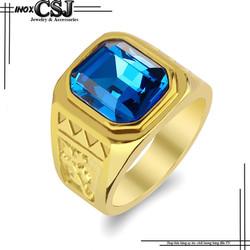 Nhẫn inox nam thời trang màu vàng đá xanh dương đẹp không đen