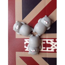3 con mochi squishy mèo xám