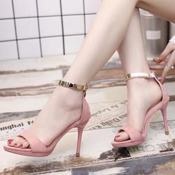 Giày sandal cao gót kéo khóa quai viền vàng cao cấp