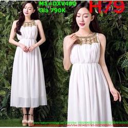 Đầm xòe dự tiệc bo eo màu trắng xinh đẹp
