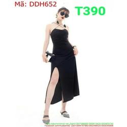 Đầm dự tiệc cúp ngực chéo dây và xẻ đùi sexy thời trang DDH652
