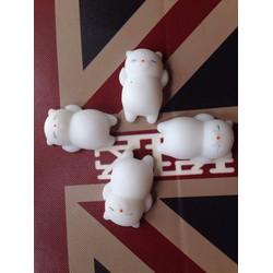 4 con mochi squishy mèo trắng