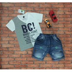 Set áo thun cổ tim và quần jean cho bé từ 13kg-30kg