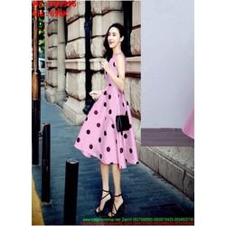 Đầm xòe dự tiệc hồng họa tiết chấm bi dễ thương DXV396