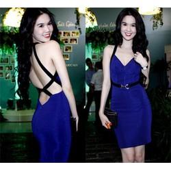 Đầm Ngọc Trinh hở lưng thiết kế màu xanh coban viền đẹp siêu hot DV499