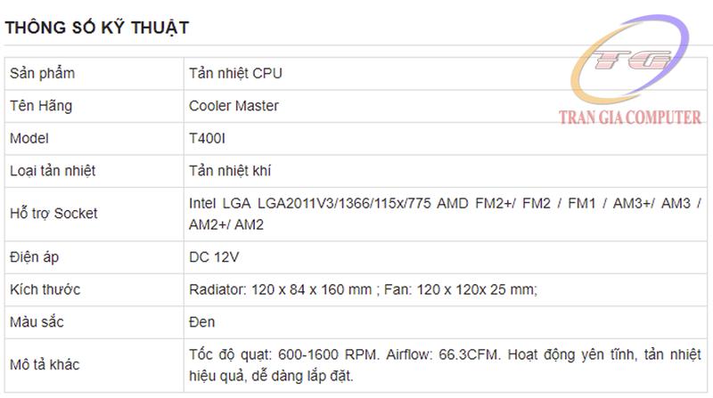 Tản nhiệt CPU Cooler Master T400I 1