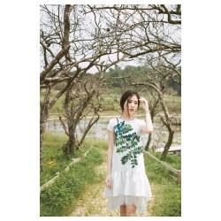 Đầm suông in hoa xanh lai bèo phối ren