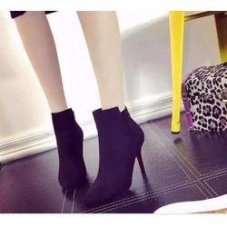 Giày boot cao gót da lộn V2