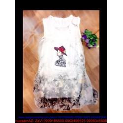 Đầm suông họa tiết cô gái sành điệu màu trắng trẻ trung DSV56