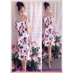 Đầm suông họa tiết hoa cho bạn gái xinh xắn DSV28