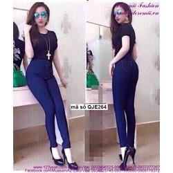 Quần jean nữ lưng cao 1 nút đơn giản form chuẩn hhQJE264