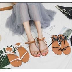 Giày sandal kẹp quai thắt nơ cổ chân