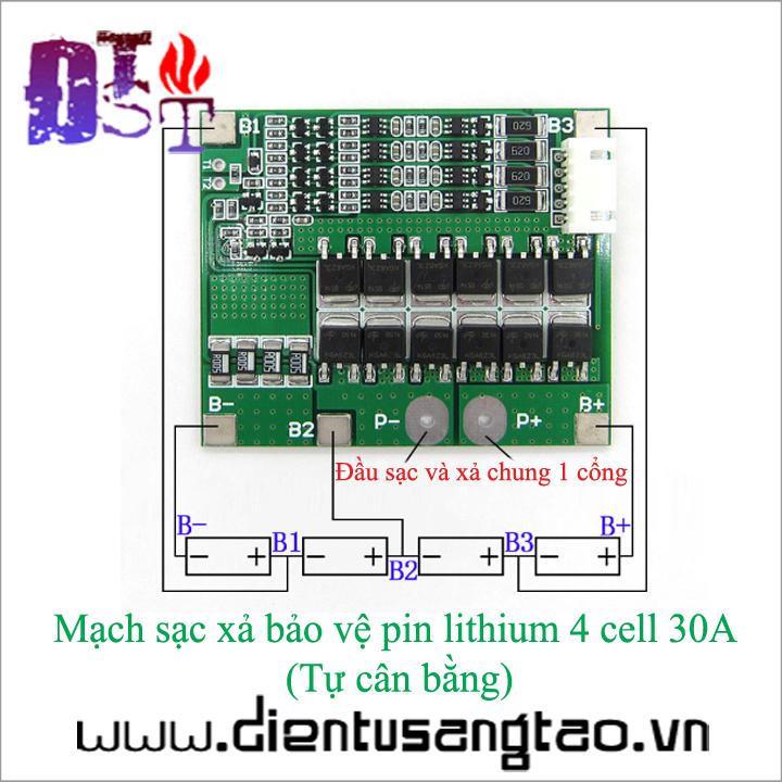 Mạch sạc xả bảo vệ pin lithium 4 cell 30A  Tự cân bằng