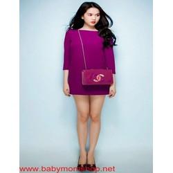 Đầm suông dự tiệc màu tím sang trọng thiết kế đơn giản DSV169