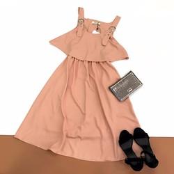 Đầm Maxi Hai Dây Phối Bèo Đủ Màu