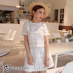 Set áo và chân váy len chấm bi - hàng nhập Quảng Châu cao cấp