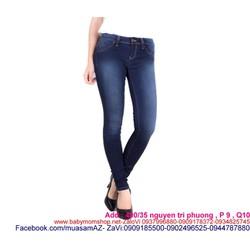 Quần jean dài lưng cao xanh đậm phối trắng sành điệu new QD241