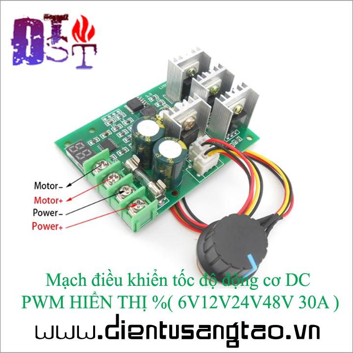 Mạch điều khiển tốc độ động cơ DC  PWM hiển thị phần trăm  30A 1