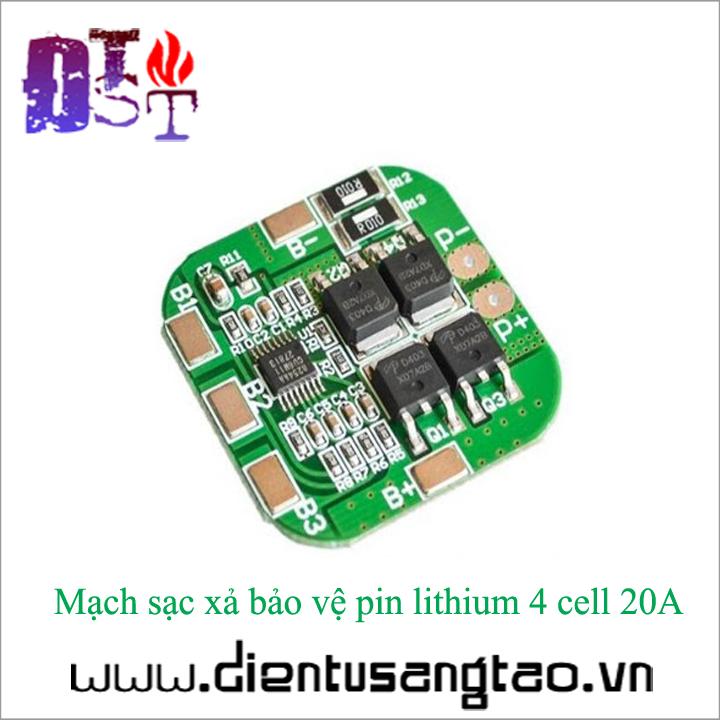 Mạch sạc xả bảo vệ pin lithium 4 cell 20A 1