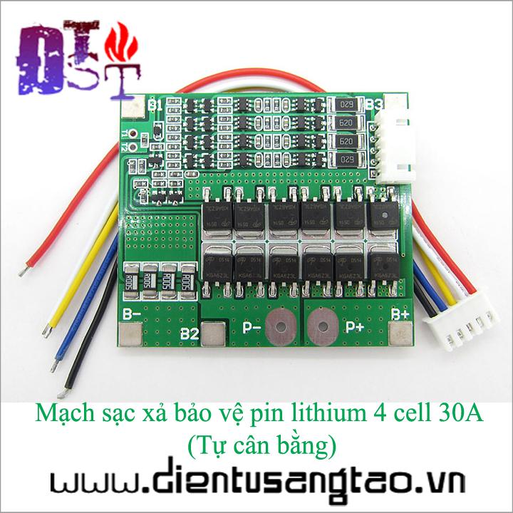 Mạch sạc xả bảo vệ pin lithium 4 cell 30A  Tự cân bằng 2
