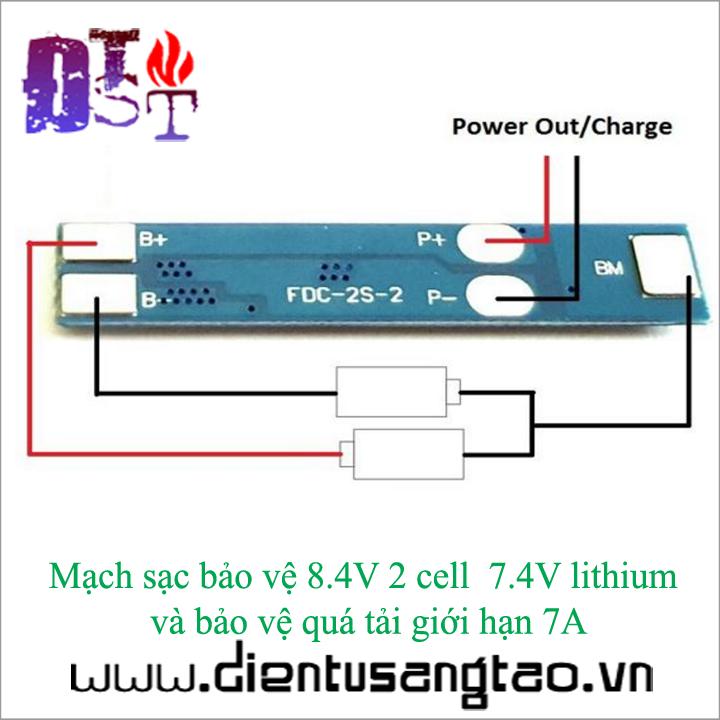 Mạch sạc xả bảo vệ pin lithium 2 cell 7A