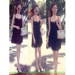 Đầm suông 2 dâu phối ren đen sang trọng như Ngọc trinh DSV192