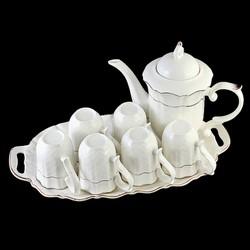Bộ ấm chén bát tràng pha trà men sần  sứ trong cao cấp L0 22-1
