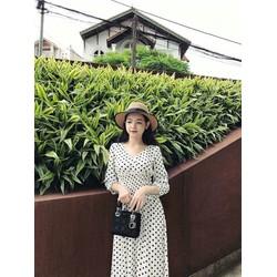 Đầm xoè chấm bi chiết eo cực xinh yêu