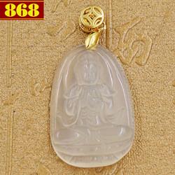 Mặt dây chuyền Phật bản mệnh Đại Nhật Như Lai 3.6 cm trắng