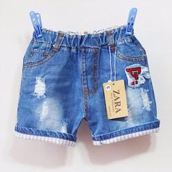 Quần short jean bé trai lật lai vải mềm