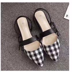 giày búp bê kiểu sọc caro