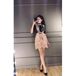 SET áo ren đen yếm váy ren