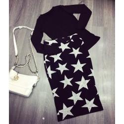 Set áo đen dài tay + chân váy ngôi sao
