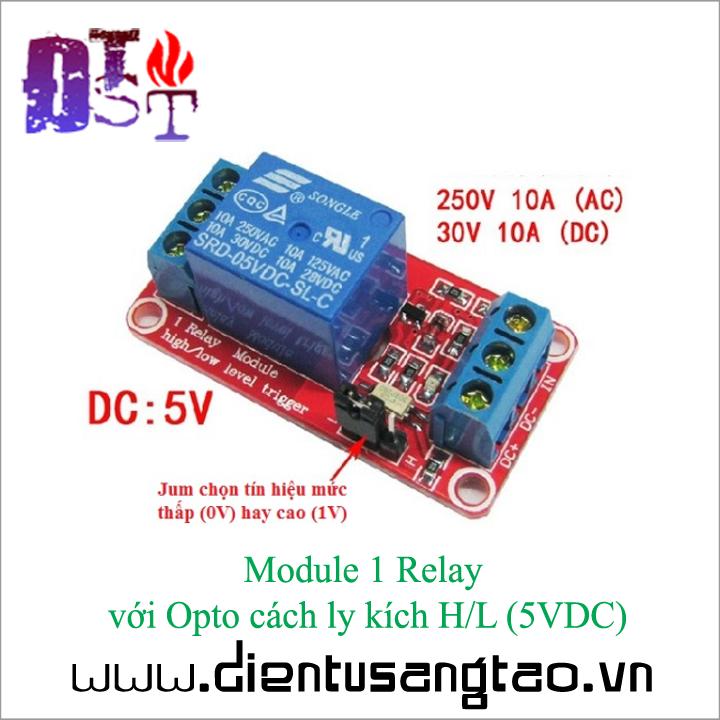 Module 1 Relay với Opto cách ly kích H-L -5V DC