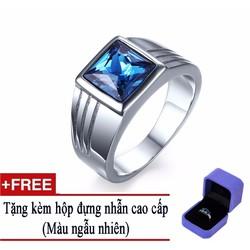 Nhẫn nam Inox cao cấp đá thạch anh màu xanh mặt vuông.Tặng hộp đựng