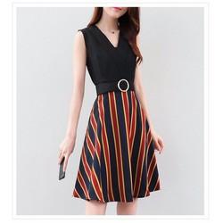 🌸HÀNG NHẬP - Đầm xòe liền chân váy sọc kèm nịt xinh xắn - CK1498310