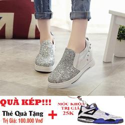 Giày Slip On nữ tăng chiều cao đính kim sa - SL004B