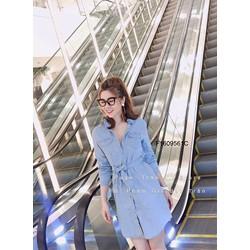 Đầm suông jean cổ bẻ 2 túi cột eo hàng thiết kế! MS: S160935 Gs 165K