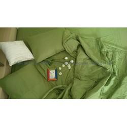Bộ chăn drap gối Thắng Lợi màu xanh rêu trơn