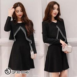 Set váy đen áo diềm - hàng nhập cao cấp