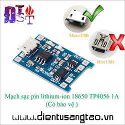 Mạch sạc pin lithium-ion 18650 TP4056 1A - Có bảo vệ