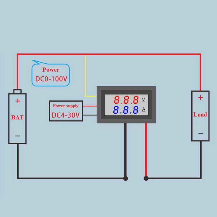 Đồng hồ Led đo dòng , áp  - DC 0-100V 10A 1