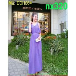 Đầm dự tiệc cổ V khoét vai tay sành điệu và thời trang DDH664