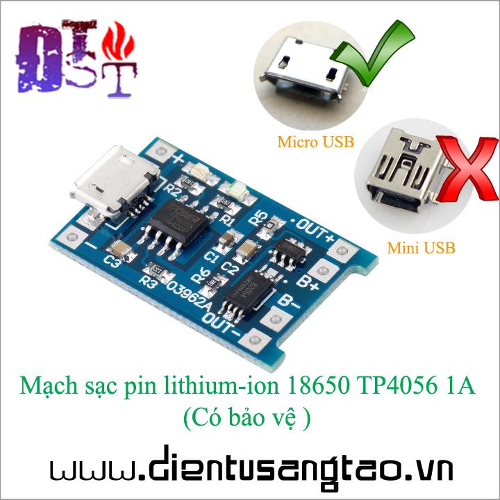 Mạch sạc pin lithium-ion 18650 TP4056 1A - Có bảo vệ 1