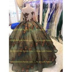 áo cưới xanh ren nâu đồng kim tuyến