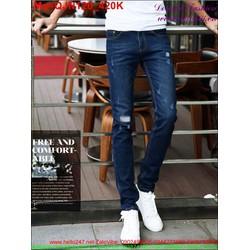Quần jean nam màu xanh rách xước thời trang